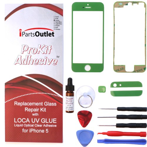 ProKit Adhesive repair Kit with LOCA UV Glue back glass frame and button for Apple Iphone 5 Green Screen Glass Lens replacement for Apple iPhone 5 - - Chroma E Glasses