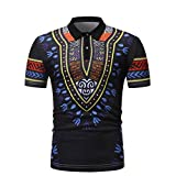 Realdo Mens African Printed Polo Shirt, Casual Fashion Slim Fit Short Sleeve Muscle Tee Tops Blouse(Black,Large)