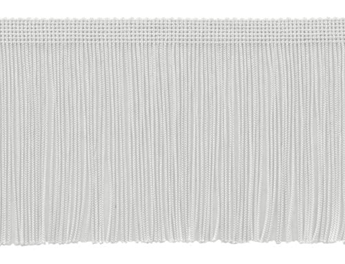 DÉCOPRO 11 Yard Value Pack of 4 Inch Long Chainette Fringe Trim, Style# CF04 Color: White - A1 (32.5 Feet / 10M)