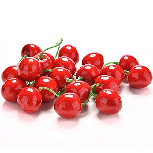 (Hagao Artificial Fruits Fake Cherry Lifelike Simulation Small Red Cherries Set Decoration Home House Kitchen Decor 50pcs     )