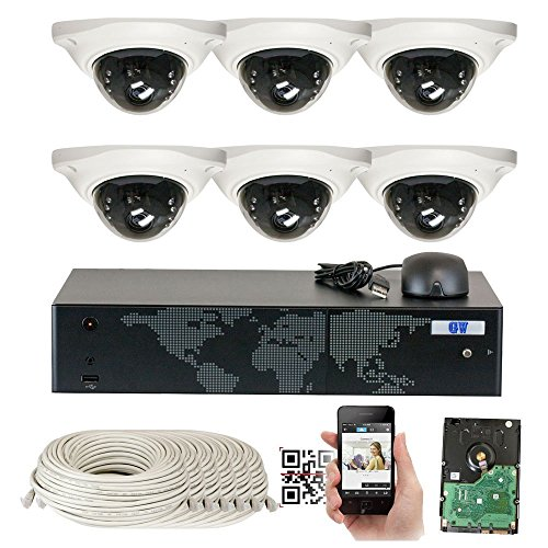 GW Security 8 Channel NVR 5 Megapixel H.265 Security Camera System, 6 Built-In Microphone Audio Recording HD 1920P IP PoE Dome Cameras, QR-Code Connection