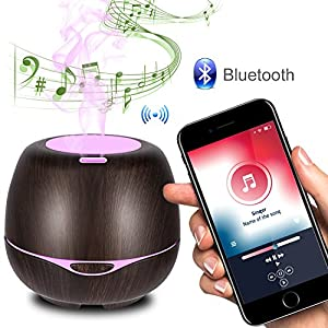 Aromatherapy Essential Oil Diffuser with Bluetooth Speaker 300ml,iTavah Aromatherapy Diffusers for Essential Oils and Humidifiers,Ultrasonic Aroma Diffusers Woodgrain