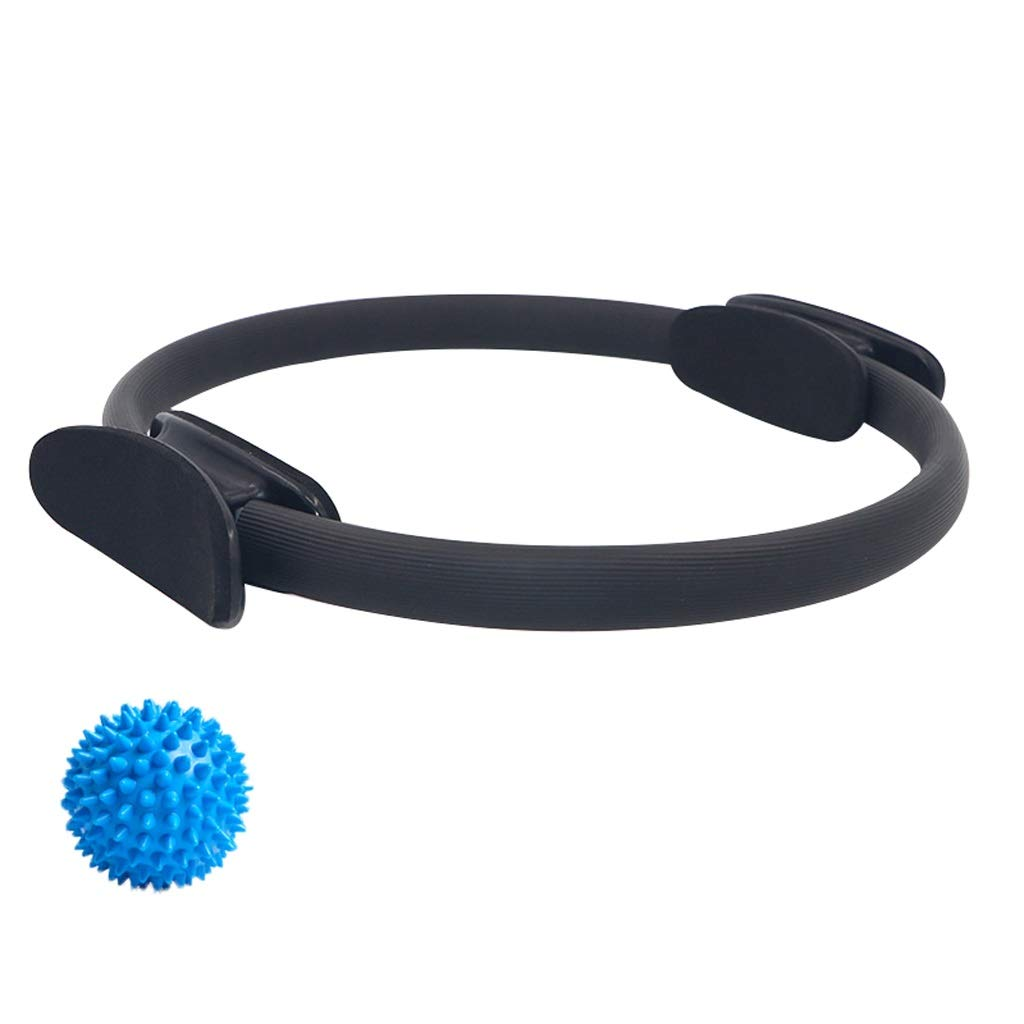 Magic Circle with a Massage Ball, Double Handle Exercise Yoga Ring Exercise Fitness 15 Inch/38cm,for Fat Burnning Physical Therapy Tool (Color : Black)