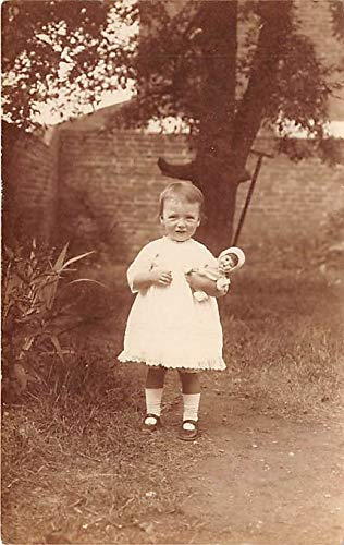 People and Children Photographed on Postcard, Old Vintage Antique Post Card Little girl with a doll Nancy 1 Years 9 Months Writing on back
