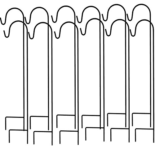 Ashman Shepherd's Hooks, Black, Set of 12 made of Premium Metal for Hanging Solar Lights, Bird Feeders, Mason Jars, Flower Basket, Christmas Lights, Lanterns, Garden Stakes and Wedding Decor ()