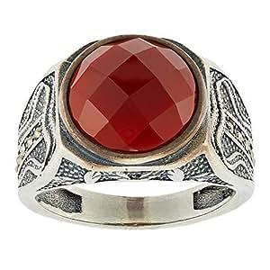 Aurora Men's Silver Aqeeq Red Ring