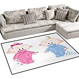 Gender Reveal,Floor Mat,Cheerful Boy and Girl Children with Bunny Pacifiers Twins,Small Rug Carpet,Pale Blue and Pink Peach,48''x70''
