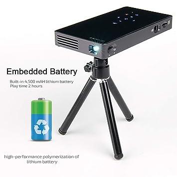 AMY Proyector 3D, Proyector De Bolsillo DLP con Bluetooth, Carga ...