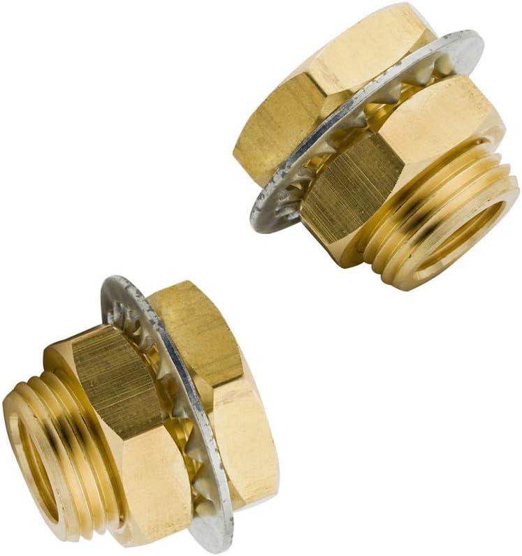 """Legines Brass Bulkhead Fitting, 1/8"""" NPT Female Bulk Head Pipe Fitting, Bulkhead Coupling, Bulkhead Tank Fitting, 0.96"""" Length (Pack of 2)"""