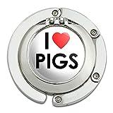 I Love Heart Pigs Foldable Table Bag Purse Caddy Handbag Hanger Holder Hook with Folding Compact Mirror