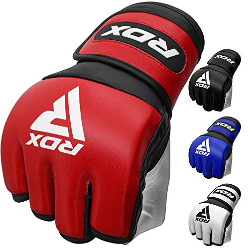 RDX MMA Gloves for Martial Arts Grappling Training, D. Cut Open Palm Maya Hide Leather Sparring Mitts, Good for Muay…
