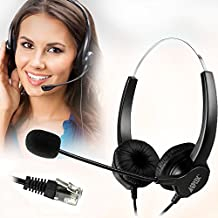 AGPtek Hands-free Noise Cancelling Corded Binaural Headset Headphone with Mic Mircrophone for Call Center Phone Desk Telephone - 4-Pin RJ9 Crystal Head