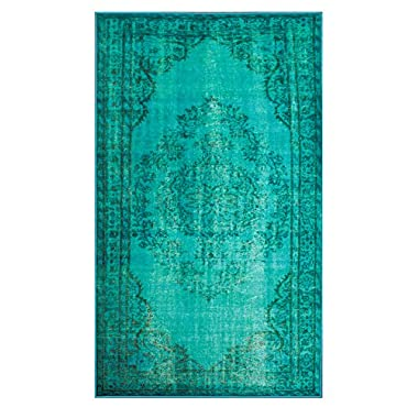 nuLOOM Remade Overdyed Collection Chroma Transitional Traditional Machine Made Area Rug, 5-Feet 5-Inch by 8-Feet 2-Inch, Turquoise