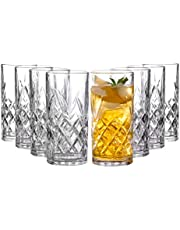 Royalty Art Kinsley Tall Highball Glasses Set of 8, 12 Ounce Cups, Textured Designer Glassware for Drinking Water, Beer, or Soda, Trendy and Elegant Dishware, Dishwasher Safe