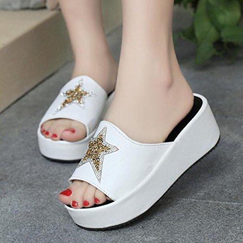 Rhinestone Star Platform White With Open Slippers Crystal Casual Womens Angelliu Toe RXqFOwHOZ