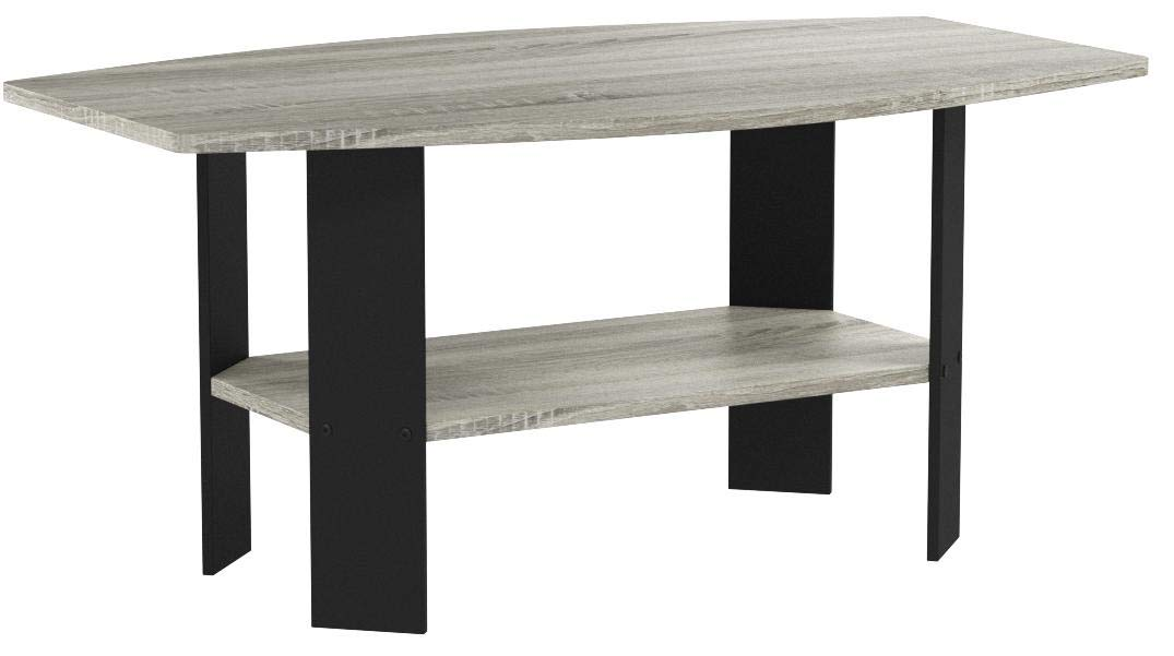 Furinno 11179GYW/BK Coffee Table, French Oak Grey/Black by Furinno