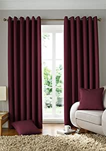 "WOVEN JACQUARD SQUARES WINE RED 46X72"" 117X183CM LINED RING TOP CURTAINS DRAPES"