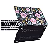 HDE Matte Hard Shell Clip Snap-on Case + Matching Keyboard Skin for MacBook Air 13' - Fits Model A1369 / A1466 (Pink Floral)