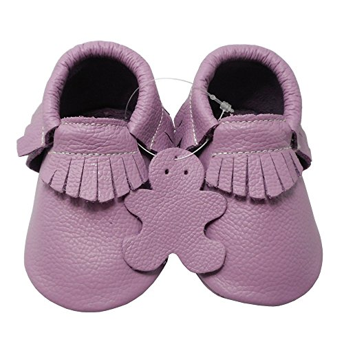 Pictures of YIHAKIDS Baby Tassel Shoes Soft Leather Sole Infant Toddler Moccasins First Walkers Shoes Multi-colors (US 4M (4.5in/3-6Mo.), Light Purple) 2