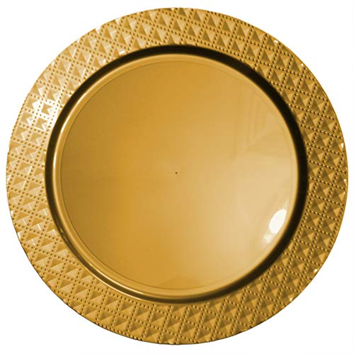 Tiger Chef 6-Pack 13 inch Gold Diamond Plastic Charger Plates Disposable Set of 2, 4, 6, 12 or 24 for Parties, Wedding, and Special Events
