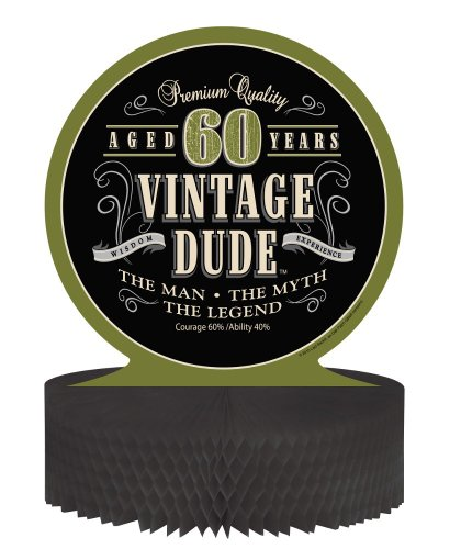 Creative Converting Vintage Dude 60th Birthday Centerpiece with Honeycomb Base