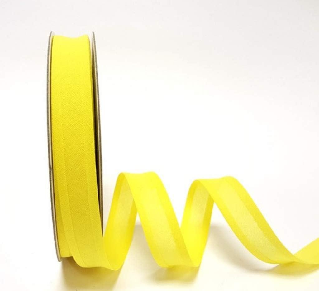 Cinta al bies de algodón amarillo brillante de 25 mm x 2 m.: Amazon.es: Hogar