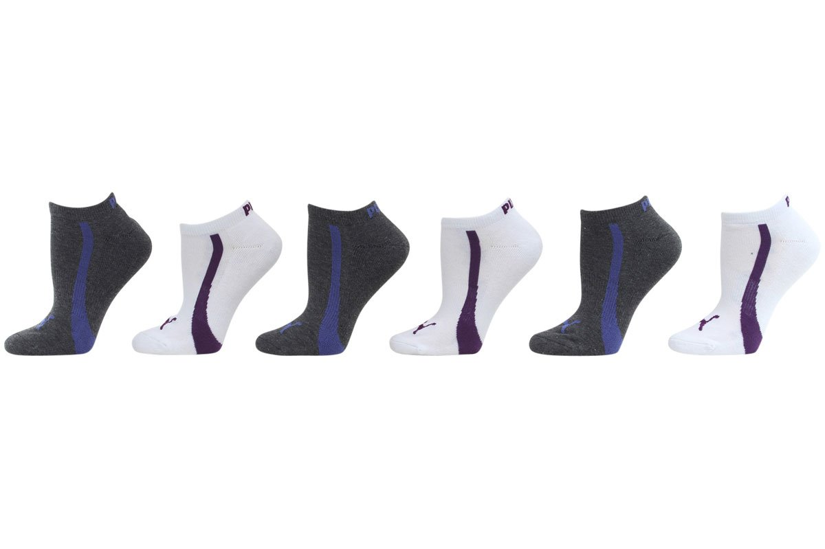 Puma Women's 6 Pack Low Cut Terry Ankle Socks Sock Size 9-11 Shoe Size 5-10 (White/Dk. Grey/Blue)