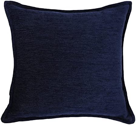 McAlister Textiles Solid Color Chenille Filled Pillow Navy Blue Soft Woven Solid Color Color Holiday Decor Throw Cushion Sham Size – 24 x 24 Inches
