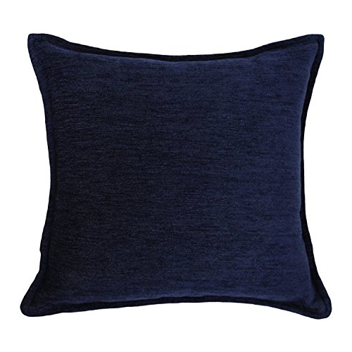 McAlister Plain Chenille Pillow Cover | Super-Soft Woven Chenille Cushion Case | Solid Navy Blue 17x17