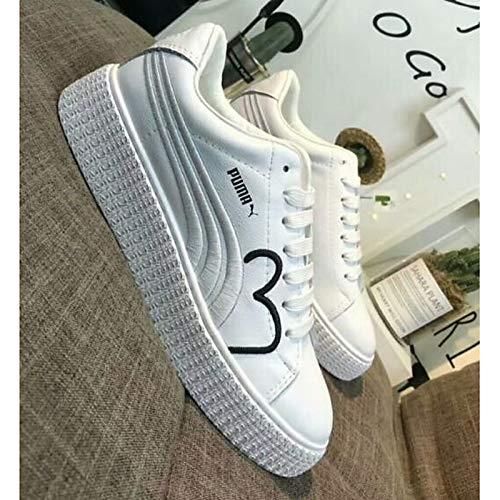 Primavera pie Flat Leather White Zapatos Verano Mujer de Dedo del Heel Sneakers Nappa Blanco ZHZNVX Comfort Cerrado xRXwqp6R