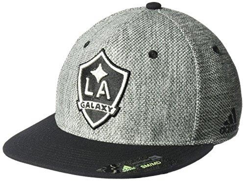 - adidas MLS Los Angeles Galaxy Men's Heathered Gray Fabric Flat Visor Flex Hat, Small/Medium, Gray