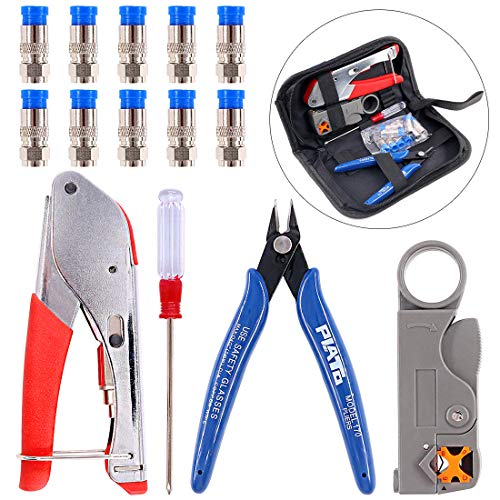 (Swpeet 14Pcs Cable Crimper Compression Tool Kit, Including Cable Crimper and Cable Stripper with 10Pcs Compression Connectors Perfect for Connector Coaxial RG59 RG6F BNC RCA Crimper Cable)