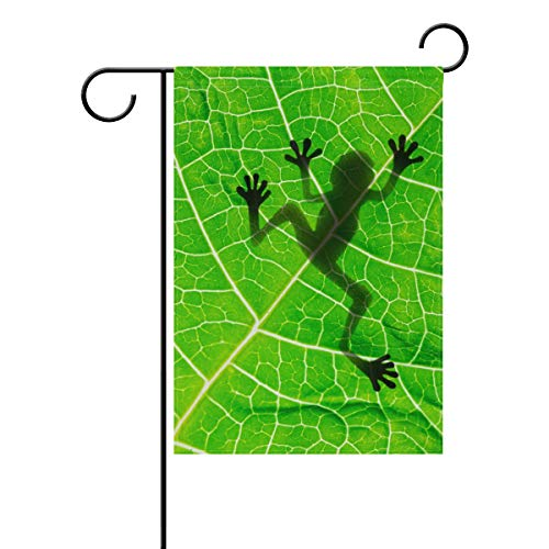 WIHVE Polyester Garden Flag, Frog Shadow Green Leaf Double Sided Holiday Flag for Party Home Outdoor Decoration 28 x 40 Inches ()