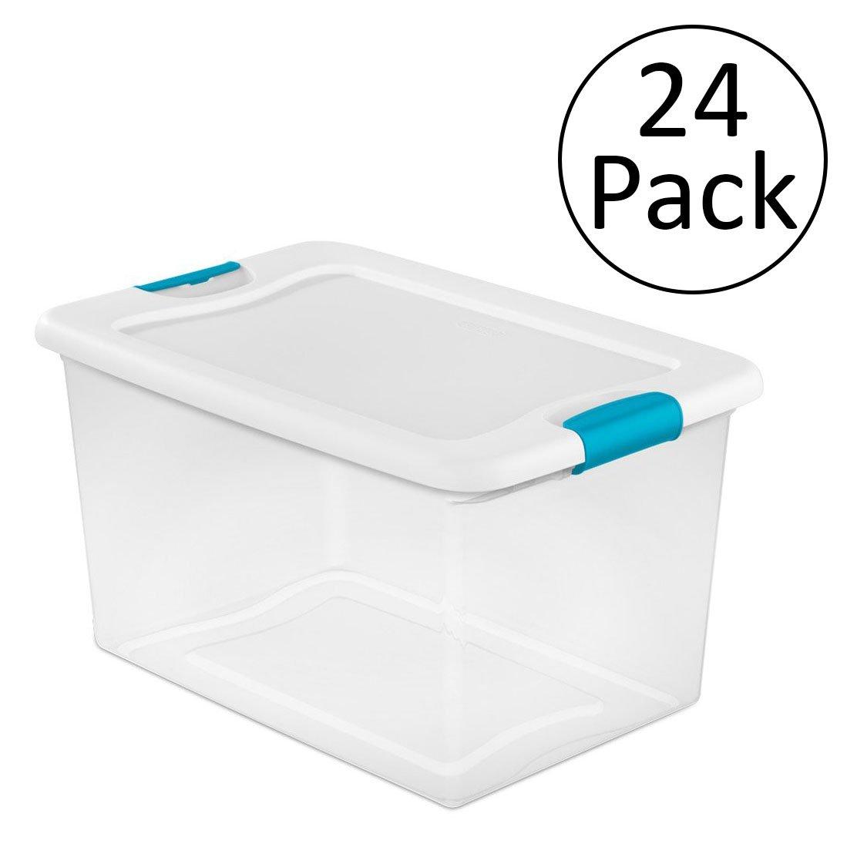 Sterilite 64 Quart Latching Plastic Storage Box, Clear w/ Blue Latches (24 Pack)
