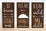 Woodland Nursery Decor Boy, Baby Shower Gift Decorations, Set of 3 Signs - 7.5 x 15 in.