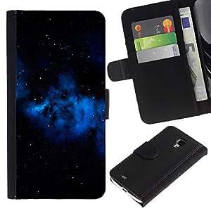 KingStore / Leather Etui en cuir / Samsung Galaxy S4 Mini i9190 / Espacio Azul Galaxy Gas Nube Estrellas Universo