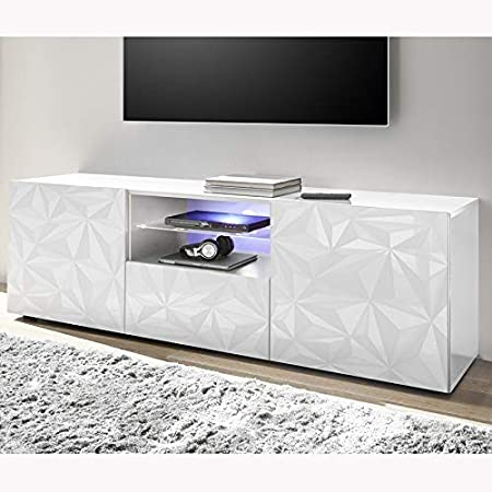 Sofamobili Meuble Tv 180 Cm Design Blanc Laque Antonio Amazon Fr Cuisine Maison