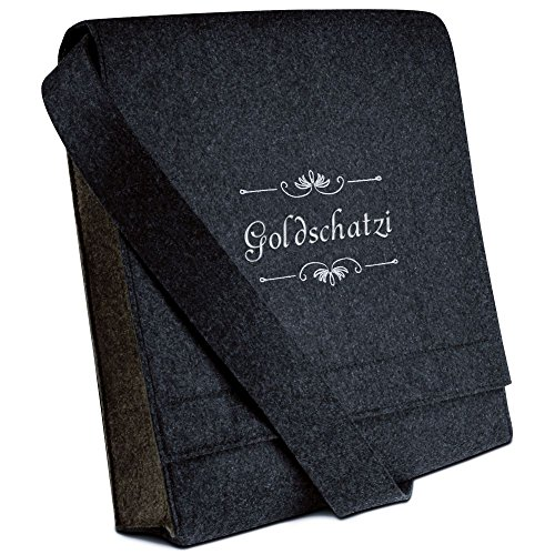 Halfar® Tasche mit Namen Goldschatzi bestickt - personalisierte Filz-Umhängetasche HAF9dE2OAV