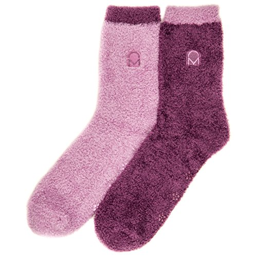 Noble Mount Womens Soft Anti-Skid Winter Feather Socks - 2-Pairs