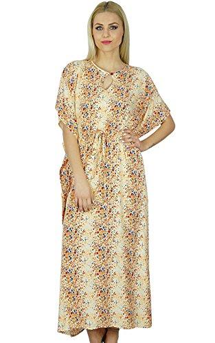 Bimba Women Long Maxi Kaftan White Rayon Caftan Floral Gown
