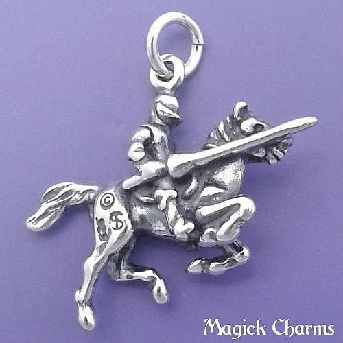 925 Sterling Silver 3-D Jousting Knight in Armor On Horse Charm Pendant Jewelry Making Supply, Pendant, Charms, Bracelet, DIY Crafting by Wholesale Charms