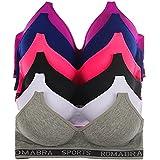 W L INTIMATES Sport Bra Set Women Comfort T-Shirt Bra 6 Pack, 38C