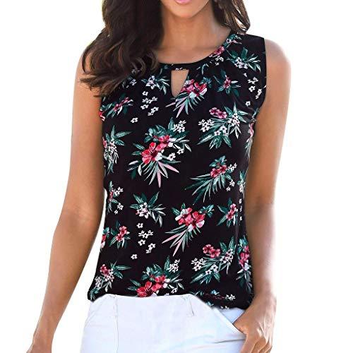 Summer Womens Tops Boho Floral Print Hollow O-Neck Tank Tops Casual Loose Sleeveless Basic Vest Cami Blouse Black (Miu)
