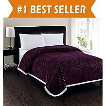 Elegant Comfort Best, Softest, Luxury Micro-Sherpa Blanket on Amazon! Heavy Weight Stripe Design Ultra Plush Blanket, King/Cal King, Purple