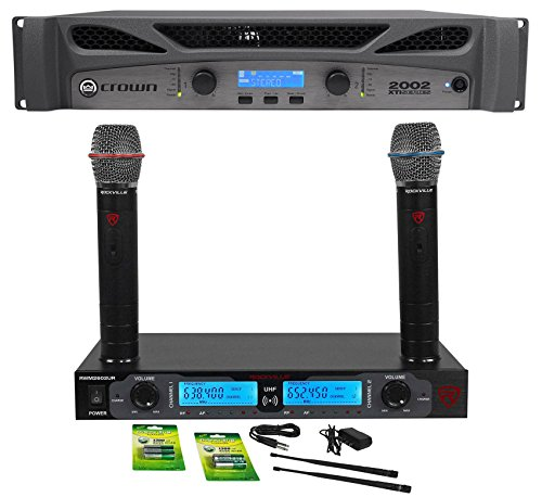 Crown Xti Amps - Crown Pro XTI2002 XTI 2002 2000w Power Amplifier Amp w/DSP + Dual Wireless Mics