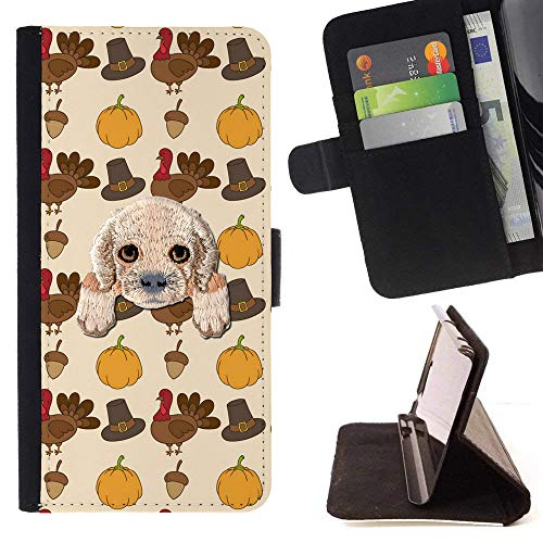 [ Cocker Spaniel ] Embroidered Cute Dog Puppy Leather Wallet Case for LG V30 [ Thanksgiving Turkey Pattern ]