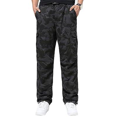 ARRIVE GUIDE Mens Outdoor Sport Multi Pocket Loose Fleece Winter Cargo Pant