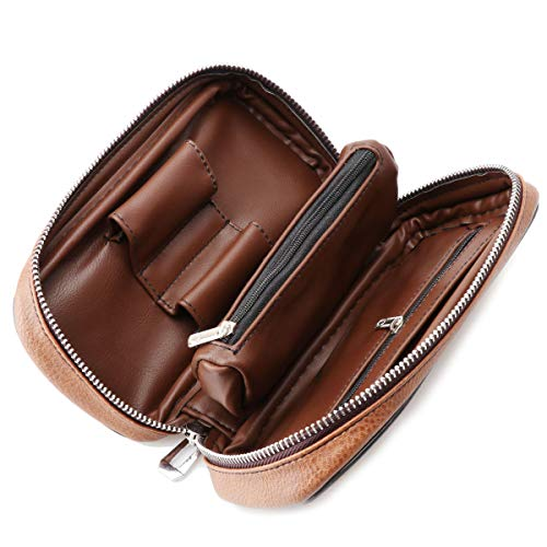 Scotte PU Leather tobacco Smoking Wood pipe pouch case/bag for 2 tobacco pipe and other accessories(Does not include pipes and accessories) by Scotte (Image #1)