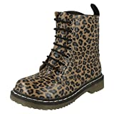 SPOT ON !Chunky Sole Lace Up Ankle Boot (Tan Leopard, Size 13 Child UK)
