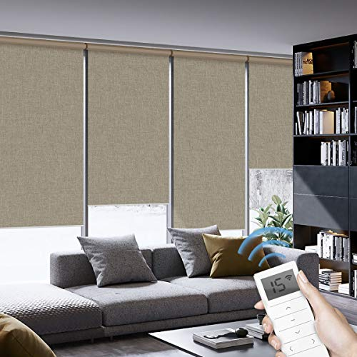 Graywind Motorized Roller Shades 100% Blackout Window Shades Cordless Window Blinds Thermal Insulated Roller Blinds with Valance and Triple Weaved Fabric, Customized Size (Coffee)